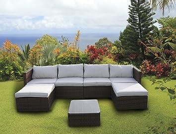 Nuovo Set di mobili da giardino in rattan intrecciato divano ad angolo tavolo Light mixed brown