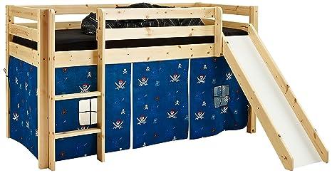 Steens Group 7331003019000F Lit de Jeu Imprimé Tom avec Toboggan et Habillage Tissu Imprimé Piratos 120 x 210 x 195 cm