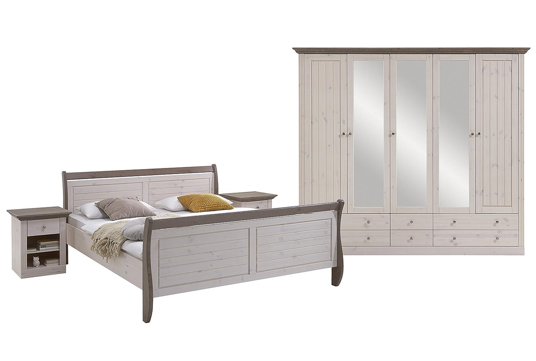 Steens Furniture 7317000269001F Schlafzimmer Monaco mit Bett 180 x 200 cm, kiefer massiv, weiß lasiert / stone abgesetzt