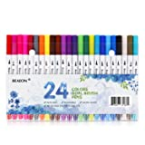 Reaeon Dual Tip Brush Pens Fine Point Markers, 24 Fineliner Pens Colored Writing Drawing Marker Pen Set for Bullet Journal Planner Calendar Coloring Office School Supplies Art Projects (Color: 24 Dual Pens)