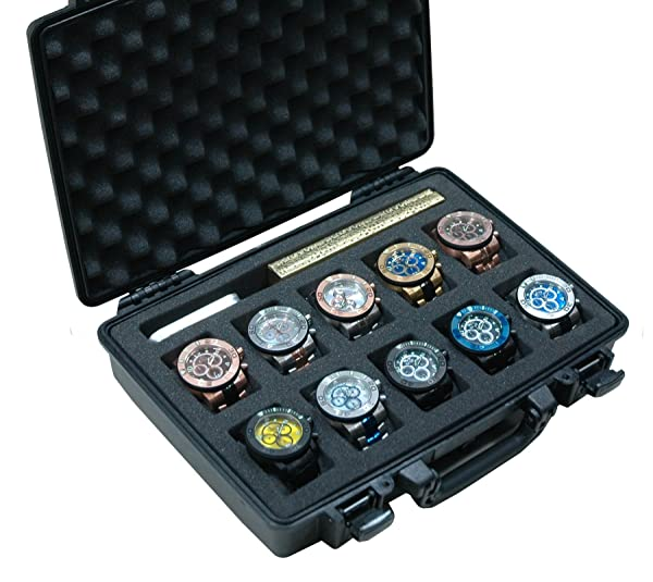 Case Club Waterproof 10 Watch Travel Case with Accessory Pocket (Color: BLACK)