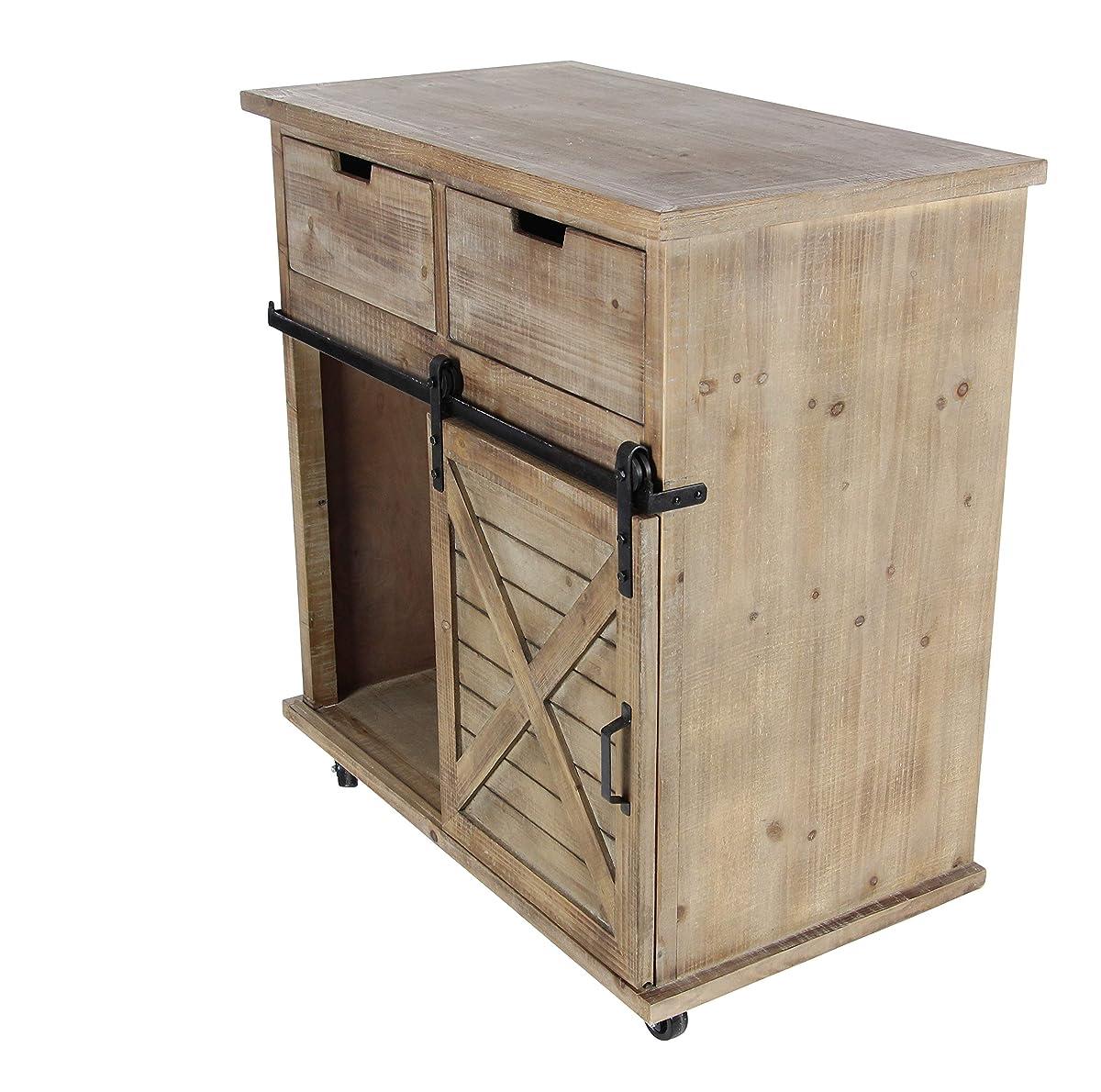 """Deco 79 84249 33""""/34"""" Wood Metal Storage Cabinet, Brown/Black"""