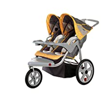 InStep Grand Safari Gray/Yellow Swivel Wheel Double Jogger