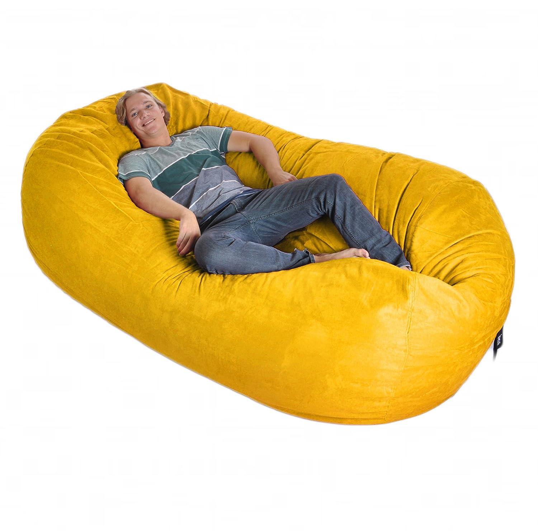 8' Oval Yellow SLACKER sack foam Bean Bag Couch XXL Beanbag Chair Lemon