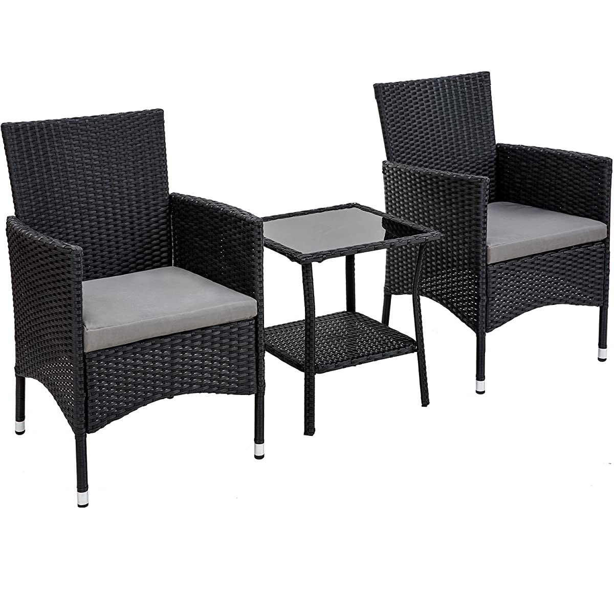 Merax Outdoor 3 Pcs Patio Furniture Table Chair Set with Cushion Wicker Outdoor Furniture Set