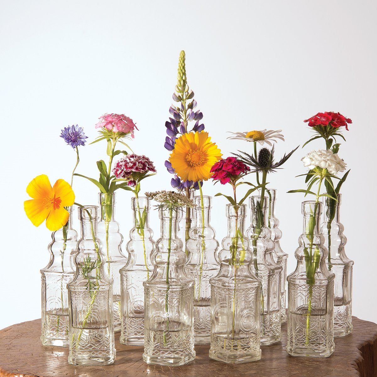 Wedding Flower Vases Wholesale: Luna Bazaar Small Vintage Glass Bottle Set (6.5-Inch
