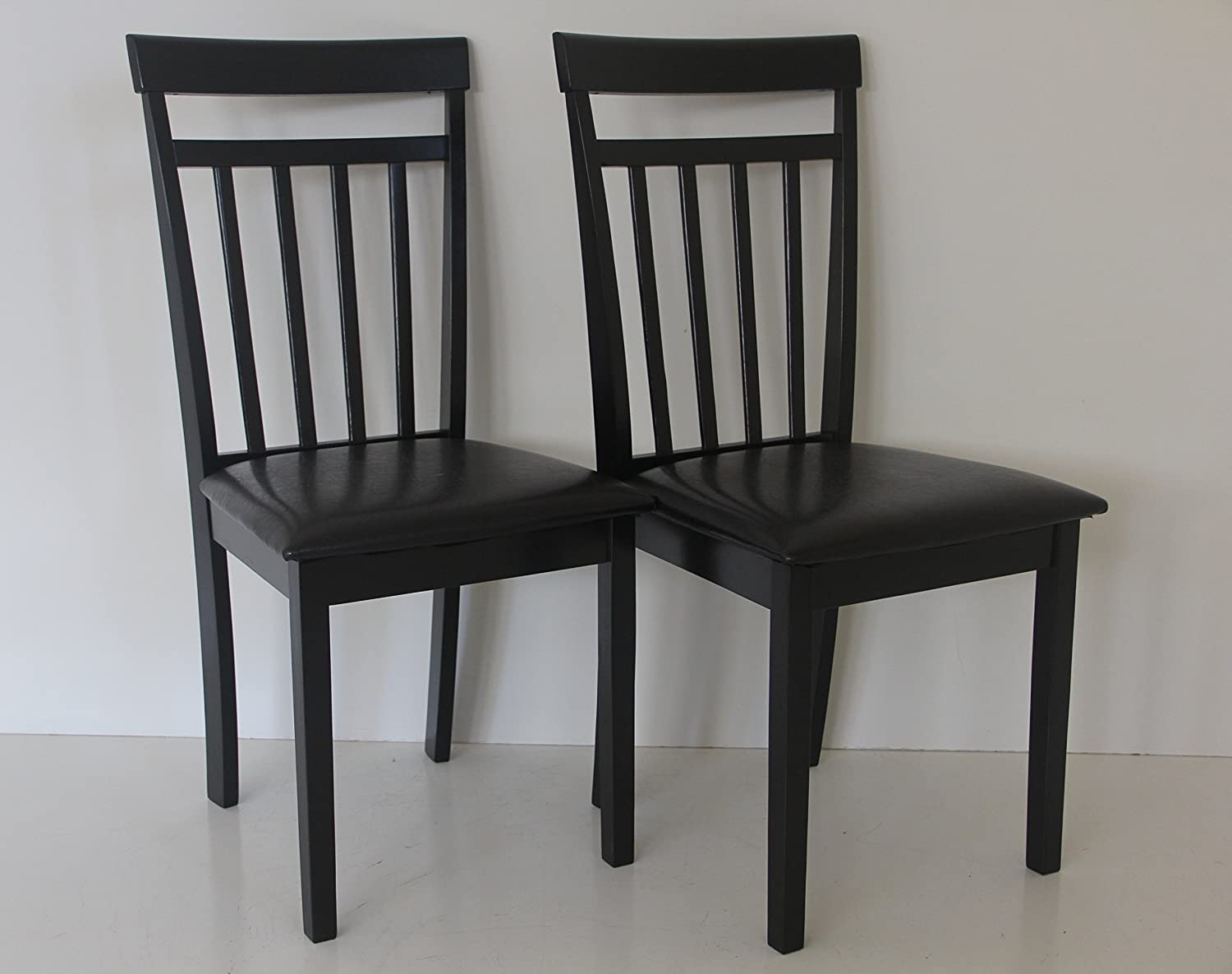 Set of 2 Warm Dining Room Kitchen Solid Wood Hardwood Chairs in Espresso Black Finish set of 2 warm dining room kitchen solid wood hardwood chairs in espresso black finish