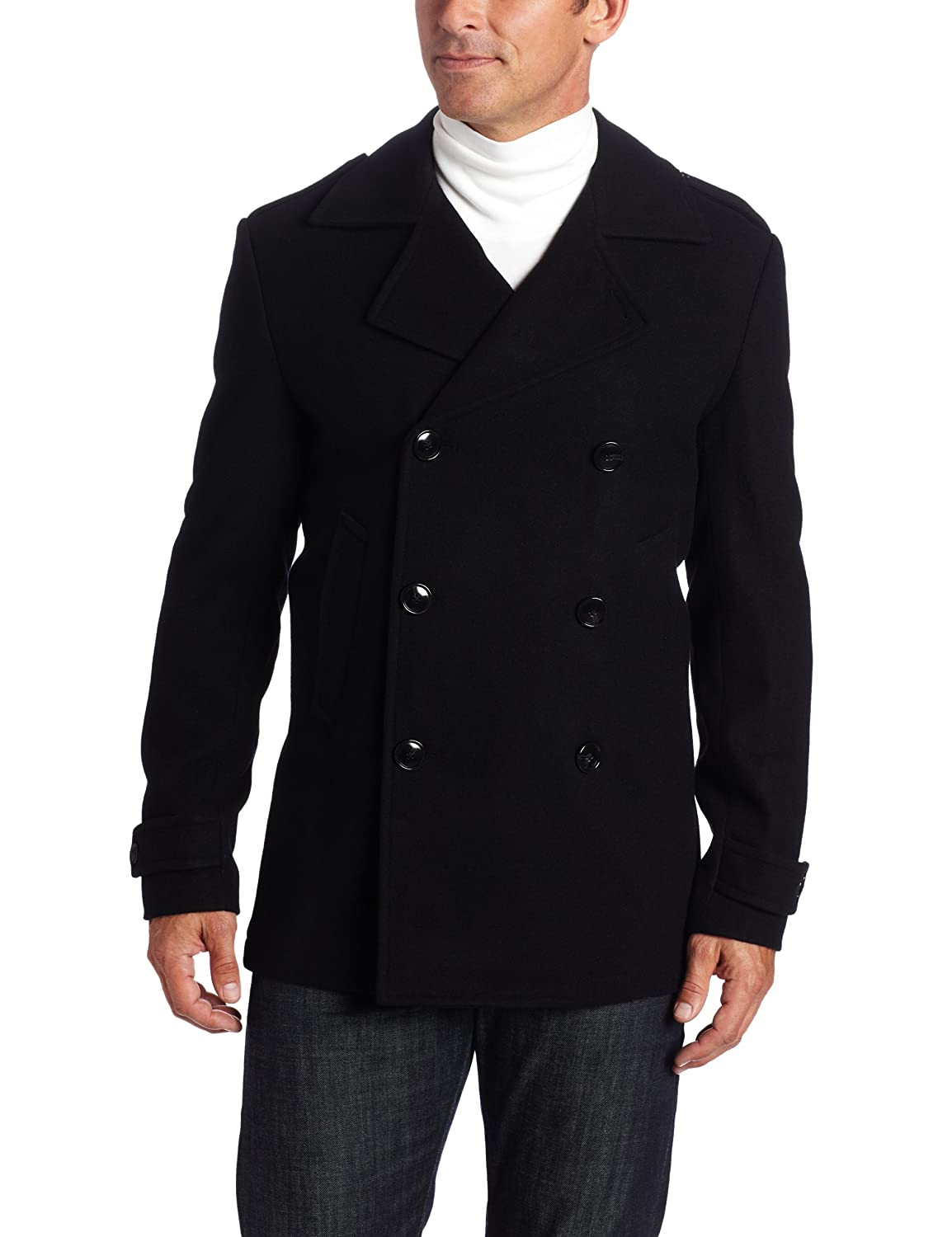 Perry Ellis Men's Peacoat, Black, M