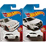 Honda Civic miniature car die-cast collectibles Hot Wheels New Casting #327 Type R & '90 Model Civic EF white in PROTECTIVE CASES (Color: Black)