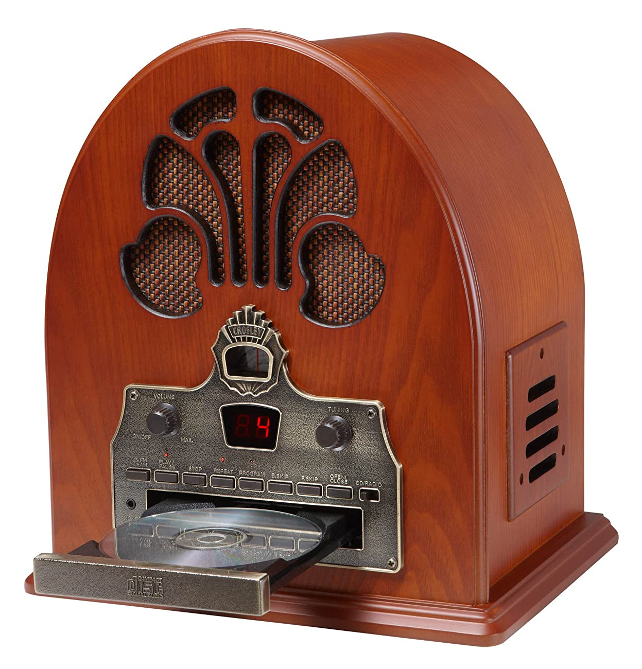 Crosley CR32CD Cathedral Retro AM/FM Radio and CD Player with Full-Range Stereo Speakers, Paprika 1