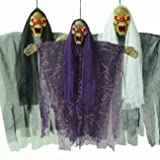 THEE 1pcs Hanging Animated Talking Witch Halloween Haunted House Prop Decor (Color: random color style 1)