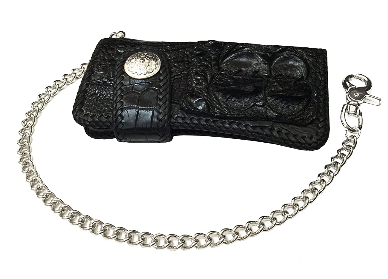 D'SHARK Luxury Biker Crocodile Skin Leather Bi-fold Snap Wallet (Black) 1
