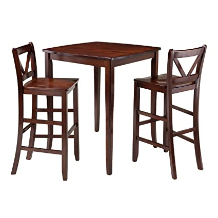 Winsome 3-Piece Inglewood High Table with 2 Bar V-Back Stools, Brown