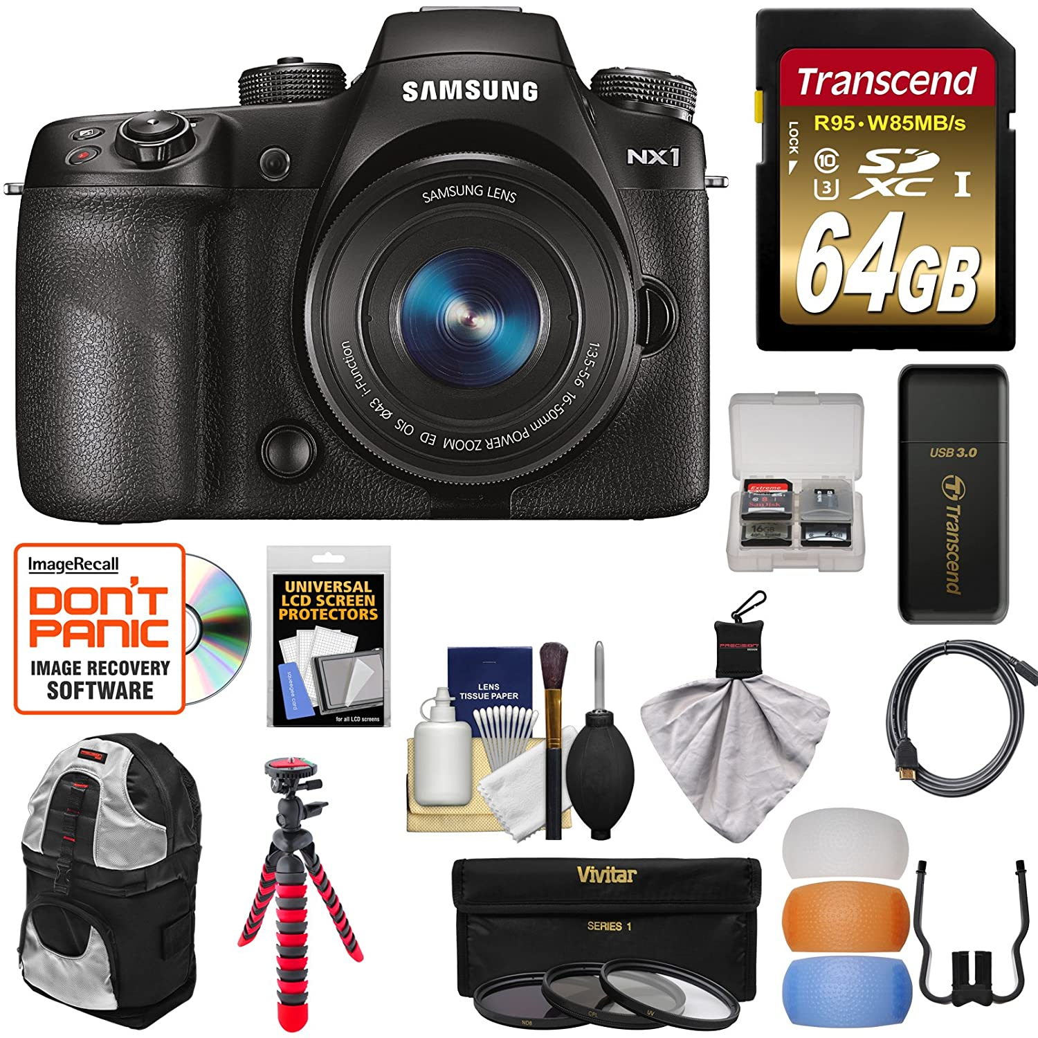 Samsung NX1 Smart Wi-Fi 4K Digital Camera & 16-50mm PZ Lens with 64GB Card + Backpack + Tripod + 3 Filters + Kit