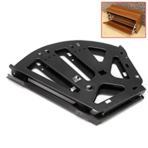 1 Pairs Cabinet Hinge Fan Shape 3 Layers Drawer Hinges Stainless Steel Rack Replacement Fittings for Cupboard Kitchen Living Room Shoe Storage Cabinet Flip Frame Hinges Furniture Parts Hardware Black (Color: Black)