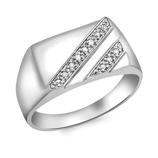 Carissima Gold 9ct White Gold Mens Diamond Rectangular Ring