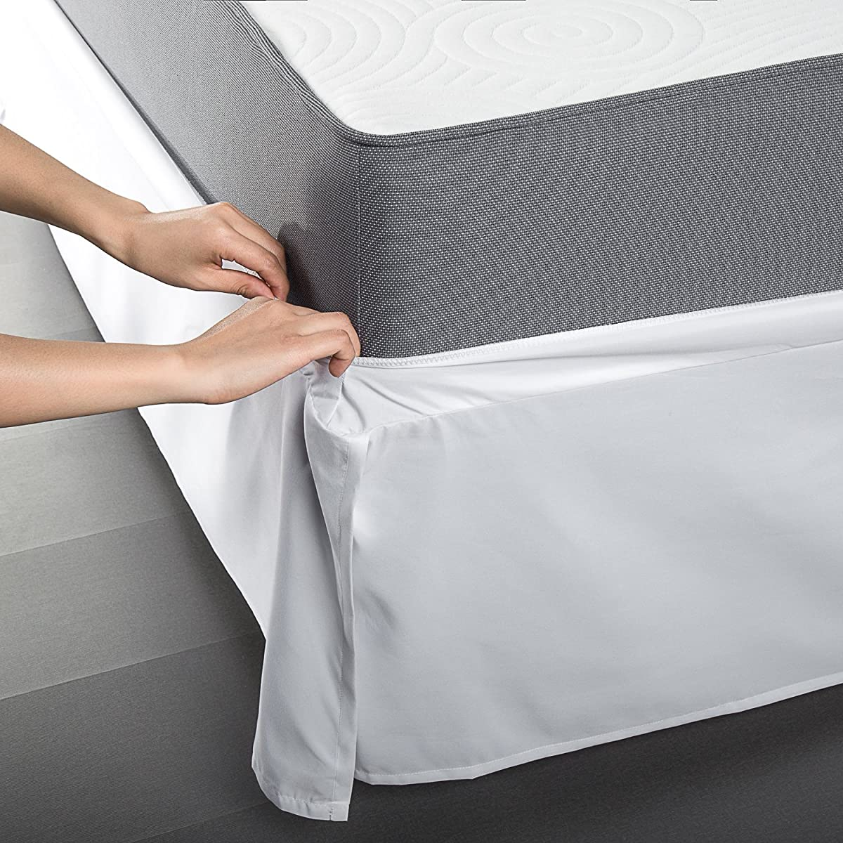 SmartBase Easy On / Easy Off Bed Skirt for 14 Inch SmartBase Mattress Foundation, King