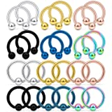 Kridzisw 24PCS 14G Surgical Steel Horseshoe Captive Bead Nose Hoop Ring Septum Eyebrow Lip Nipple Tongue Belly Hoop Rings Piercing Jewelry for Women Men 10mm Mix Color
