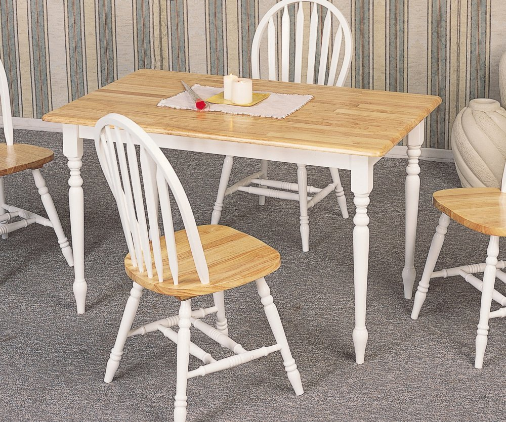 Country butcher block oak and white finish wood dining for White and wood dining table and chairs