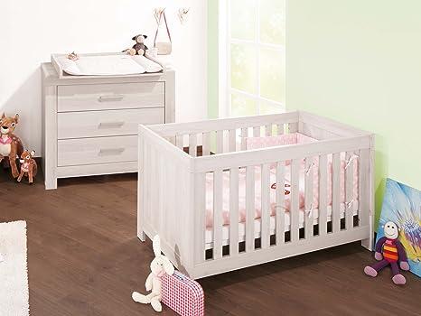 Pinolino Sparset Pepper breit, 2-teilig, Kinderbett (140 x 70 cm) und breite Wickelkommode mit Wickelaufsatz, Esche grau (Art.-Nr. 09 00 47 B)