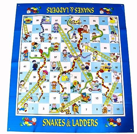 deAO Serpents et Échelles Tapis de Jeu Gigantesque - Jeu de Plateau Traditionnel Tapis pour Enfants Inclut Jetons et Dés