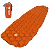 ECOTEK Outdoors Hybern8 Ultralight Inflatable Sleeping Pad Hiking Backpacking Camping - Contoured FlexCell Design - Perfect Sleeping Bags Hammocks (Fire Orange) (Color: Fire Orange)