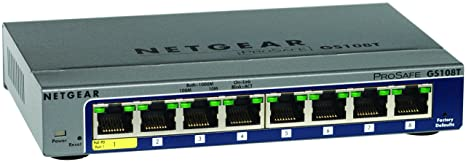 Netgear Prosafe GS108T-200GES Switches Gigabit 8 Ports Smart Manageable