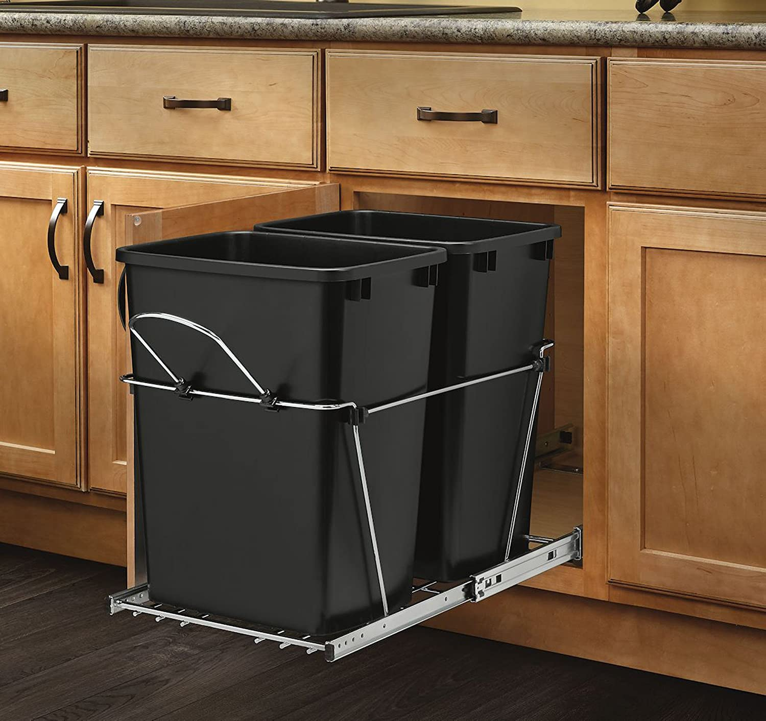 Pull Out Trash Garbage Can Waste Container Kitchen Cabinet Organizer