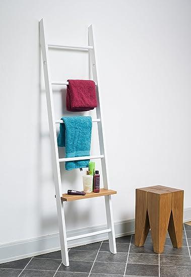 Kleiderleiter Porte-vêtements en hêtre laqué en forme d'échelle Blanc