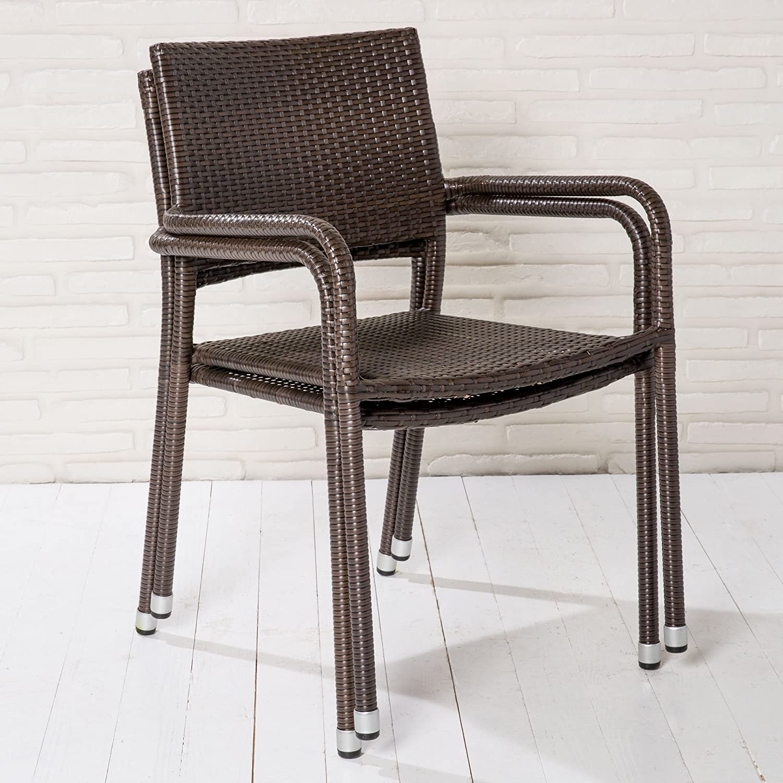 32 stapelbare Gartenstühle Stapelstühle braun Rattanoptik Balkonstühle Stahl günstig