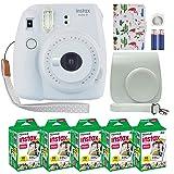 Fujifilm Instax Mini 9 Polaroid Instant Camera Smokey White with Custom Case + Fuji Instax Film Value Pack (50 Sheets) Flamingo Designer Photo Album for Fuji instax Mini 9 Photos (Color: Smokey White)