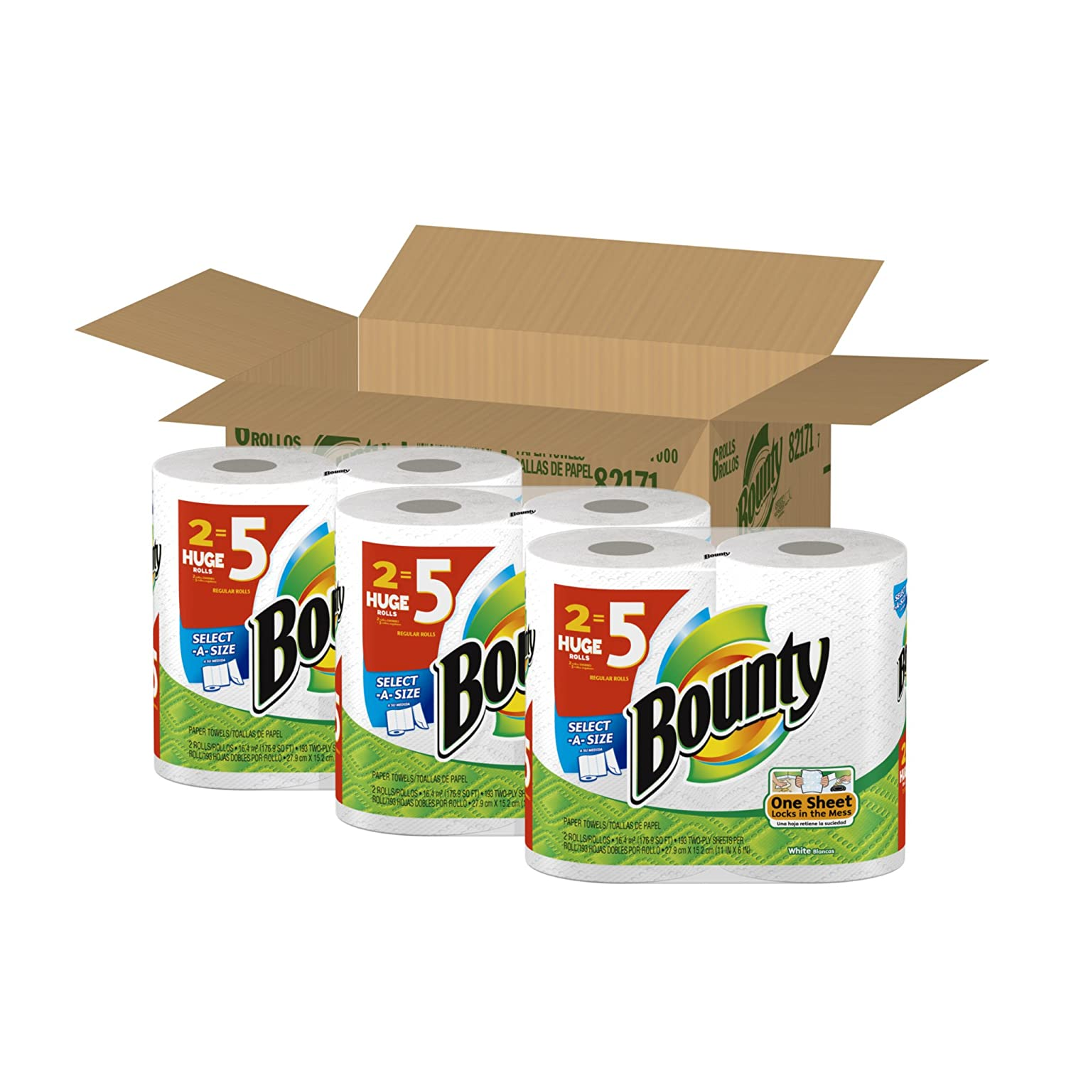 Bounty Select A Paper Towels, Huge Size, 6 Count $12.97