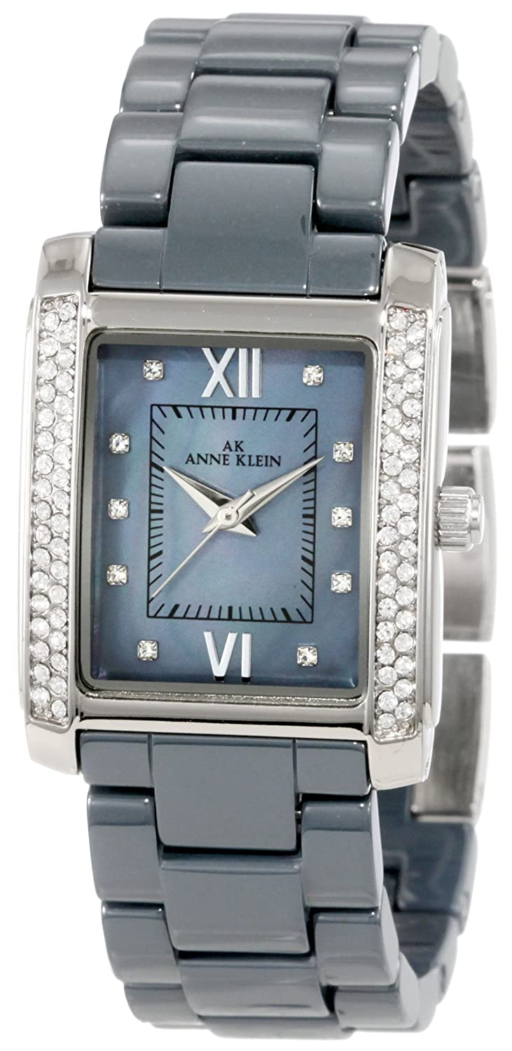 Anne Klein Women's 10/9923GMGY Swarovski Crystal Accented Grey Silver-Tone Ceramic Watch $39.99