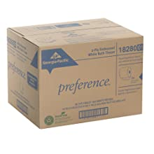 "Georgia-Pacific Preference 18280/01 White 2-Ply Embossed Bathroom Tissue, 4.05"" Length x 4"" Width (Case of 80 Roll, 550 Sheets Per Roll)"