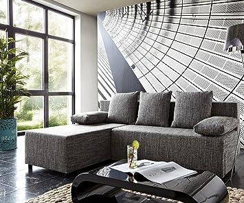 Couch Janelle Grau 200x155 mit Schlaffunktion Ottomane variabel Ecksofa