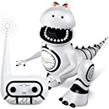 Sharper Image Interactive RC Robotosaur Dinosaur, Built-in Mood Sensors and Color-Changing LED Eyes, Motion Detection, Growls, Snores, Battery Operated- White/Black (Color: White/Black)