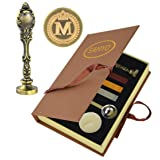 Samyo Creative Romantic Stamp Maker Classic Old-Fashioned Style Brass Color Wax Seal Sealing Stamp Vintage Antique Alphabet Initial Letter Set - (Letter M) (Color: Letter M)