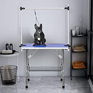 LZ LEISURE ZONE Pet Dog Grooming Table Adjustable Height Foldable Drying Table Portable Non-Slip Rubber Table with Mesh Tray, Arm and Clamp for Dogs Cats (46 INCH) (Color: 46 INCH, Tamaño: 46 Blue)