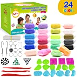 Sysrion Modeling Clay Kit - Super Light Modeling Clay Kits for Kids 24 Colors, Non-Toxic & Non-Sticky Air Dry Clay Set for Kids, Kids Clay Set, Creative DIY Arts and Crafts, Includes Clay Tools (Color: 24 Colors)