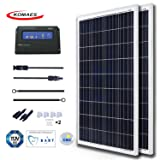 KOMAES 200 Watts 12Volts Polycrystalline Solar Panel Energy-efficient Tech Kit Includes 20Amp PWM Solar Charge Controller, 20ft Tray Cable, 20ft MC4 Cable, Branch Connector, Mounting Z Brackets (Tamaño: 2pc kits)