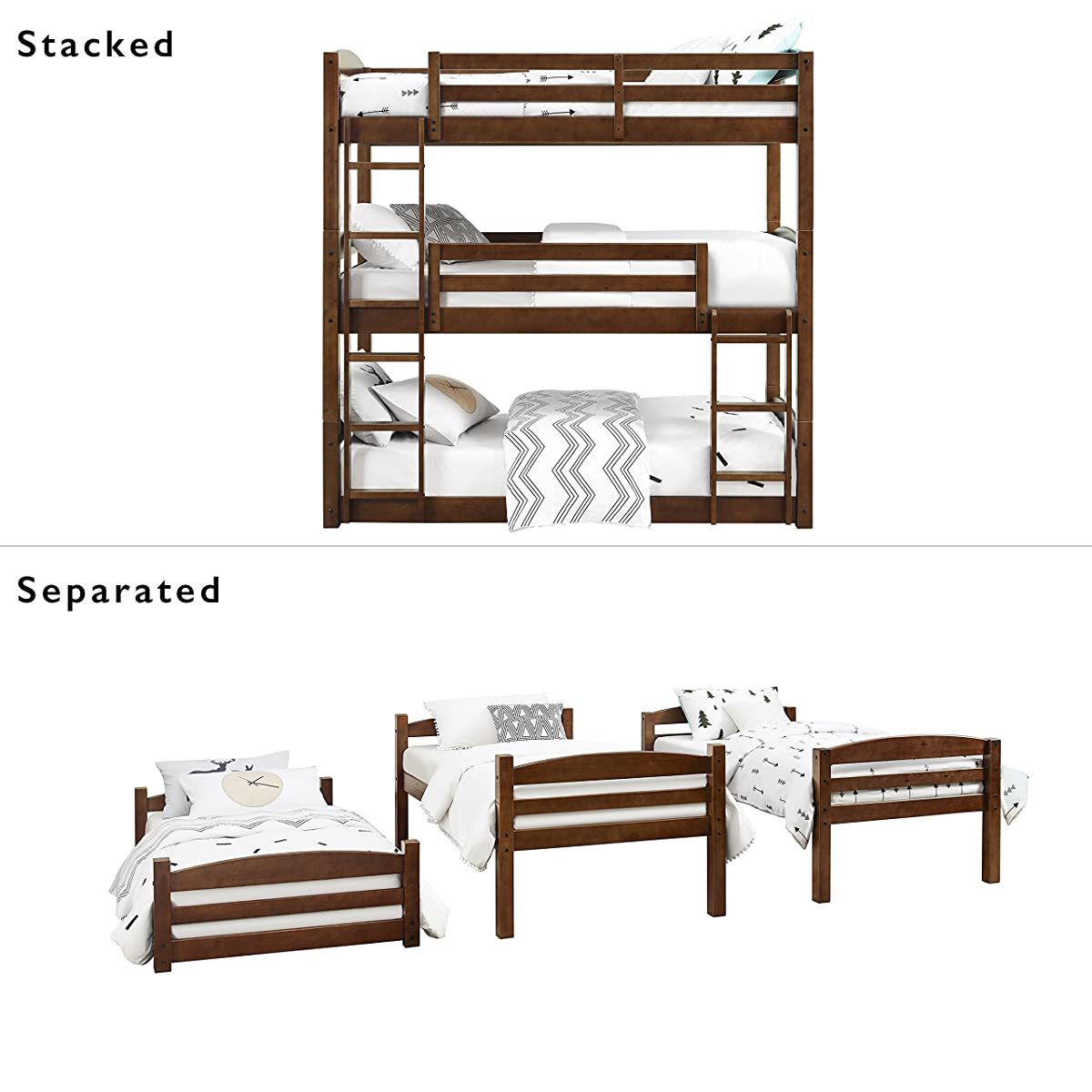 Dorel Living Sierra Triple Bunk Bed, Mocha