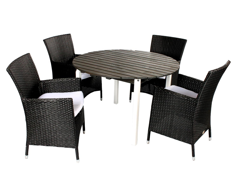 GARDENho.me 5tlg. Polyrattan Holz Sitzgruppe Pesaro, Polyrattan Sessel schwarz und Tisch rund ca. 114 cm Ø Weiß/Taupegrau