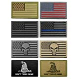 WZT Bundle 8 pieces american flag Tactical Military Morale Patch Set (Color: 2)