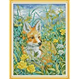 DIY Cross Stitch Stamped Kits for Home Decor 15''x 19'' - Colorfol Animal Cross-Stitching Needlecrafts Pattern, The Fox in The Bush (Color: Printed Kits,The Fox in the Bush)