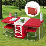 Giantex Rolling Cooler Picnic Table Multi Function For Picnic Fishing Portable Storage Food Beverage Included Foldable Table W/Two Chairs Camping Trip Cooler Children Size (Red) (Color: Red)
