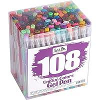 Lineon 108 Colors Gel Pens,Gel Pen Set for Adult Coloring Books Art Markers