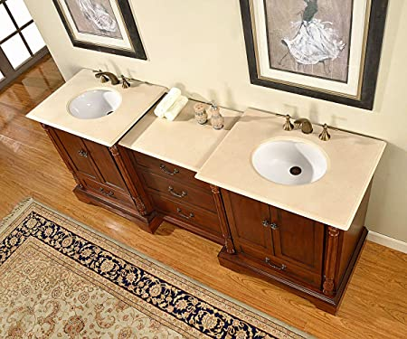 "87"" Double Sink Marble Top Bathroom Vanity Modular 3 Piece Cabinet Furniture 270C"