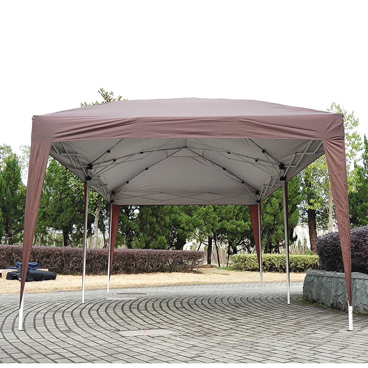 Outsunny Easy Pop Up Canopy Party Tent, 10-Feet x 20-Feet, Coffee Brown