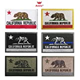Antrix Bundle 6 Pieces Tactical US California State Flag Patch Hook & Loop Embroidered Military American California Morale Badge Patch Tags Appliques -3.15