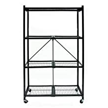 Origami R5-01W General Purpose 4-Shelf Steel Collapsable Storage Rack with Wheels, Large